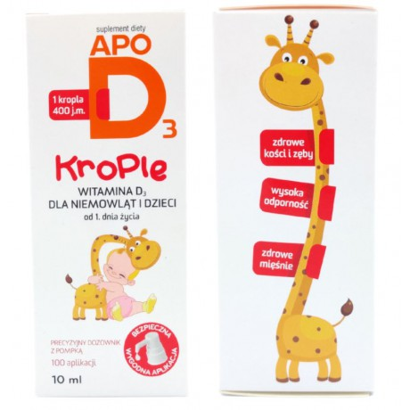 ApoD3, witamina D3 400 j.m., dla dzieci i niemowląt, krople 10 ml
