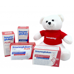 Mega Zestaw Imunoglukan P4H® (płyn 120ml, płyn Plus 100ml, kapsułki 40szt, kapsułki Plus 5szt.) + maskotka miś gratis