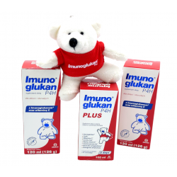 Zestaw Imunoglukan P4H® (2 x płyn 120ml, 1 x płyn Plus 100ml) + breloczek miś gratis