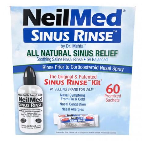 Sinus Rinse Kit, zestaw podst. do płukania nosa, 60 sasz.+but.