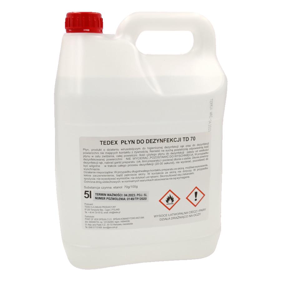 Tedex, płyn, do dezynfekcji dłoni i powierzchni ,TD 70, 5 l
